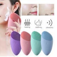 Cepillo de limpieza Facial de silicona eléctrico masaje sónico vibración USB recargable inteligente Ultra sónico limpiador Facial herramienta de belleza