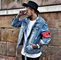 Wayelle Original Denim Jacket Men's Street Fashion Hip Hop punk Tide Corduroy Color Matching Design Warm Denim jackets Clothes