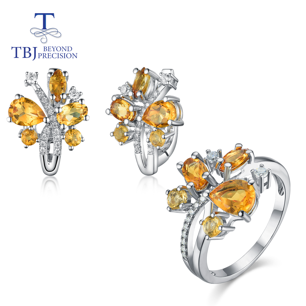 TBJ,New Natural Gemstone Citrine Jewelry Set 925 Sterling Silver Ring/earrings Simple Flowers Design For Girls Birthday Gift