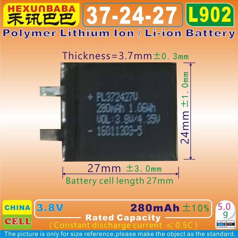 4 шт. [L902] 3,8 в 280 мАч [372427] полимерный литий-ионный/литий-ионный аккумулятор для диктофона pen,smartband;bluetooth,mp3, умные часы