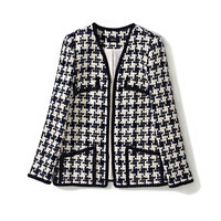 New 2019 autumn winter women tweed jacket runway brand geometric jacquard V neck chains trim small pockets elegant outerwear