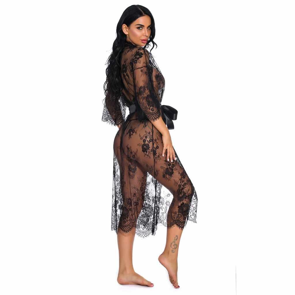 חדש נשים Tenu סקסי הלבשה תחתונה תחרת לילה שמלת Sheer שמלת לראות דרך קימונו Robe פיג פרספקטיבת הלבשת Pyjama Femme