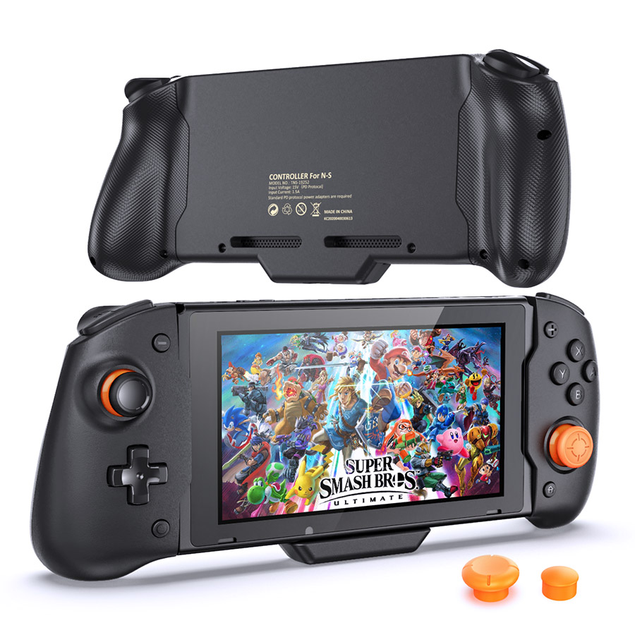 Gamepad for Nintend Switch Joypad Controller Handle Grip PD Double Motor Vibration Built-in 6-Axis Gyro with 3 Thumb Grips