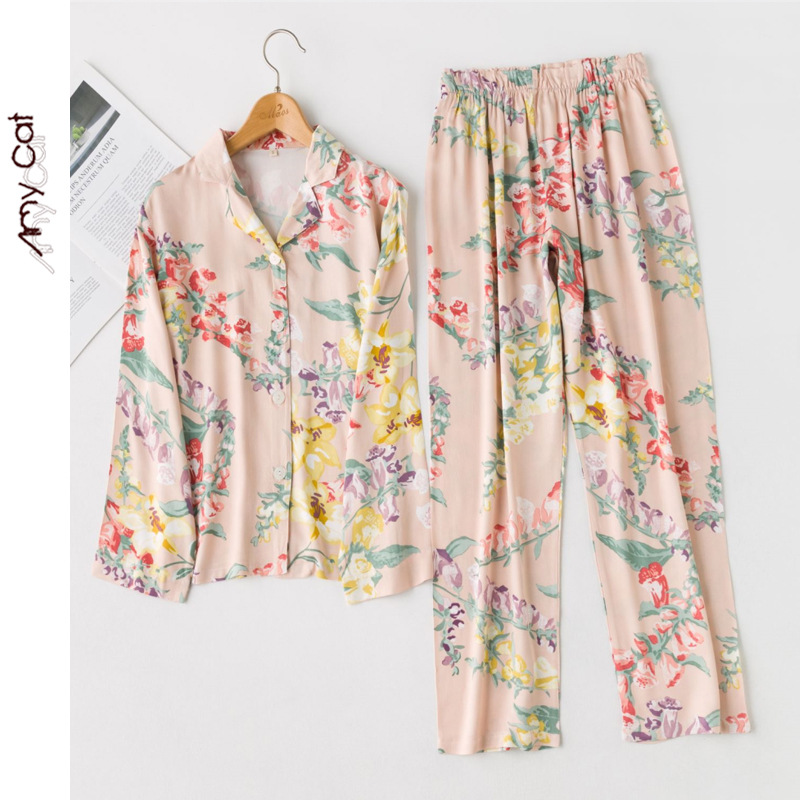 Autumn 2019 New Korean Ladies Satin Flower Printing Pajamas Women Long Sleeve Pants Casual Sleepwear Home Clothes Sexy Two Piece