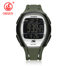 OHSEN Brand Men Sport Watches Multi-function Army Clock LED Electronic Digital W