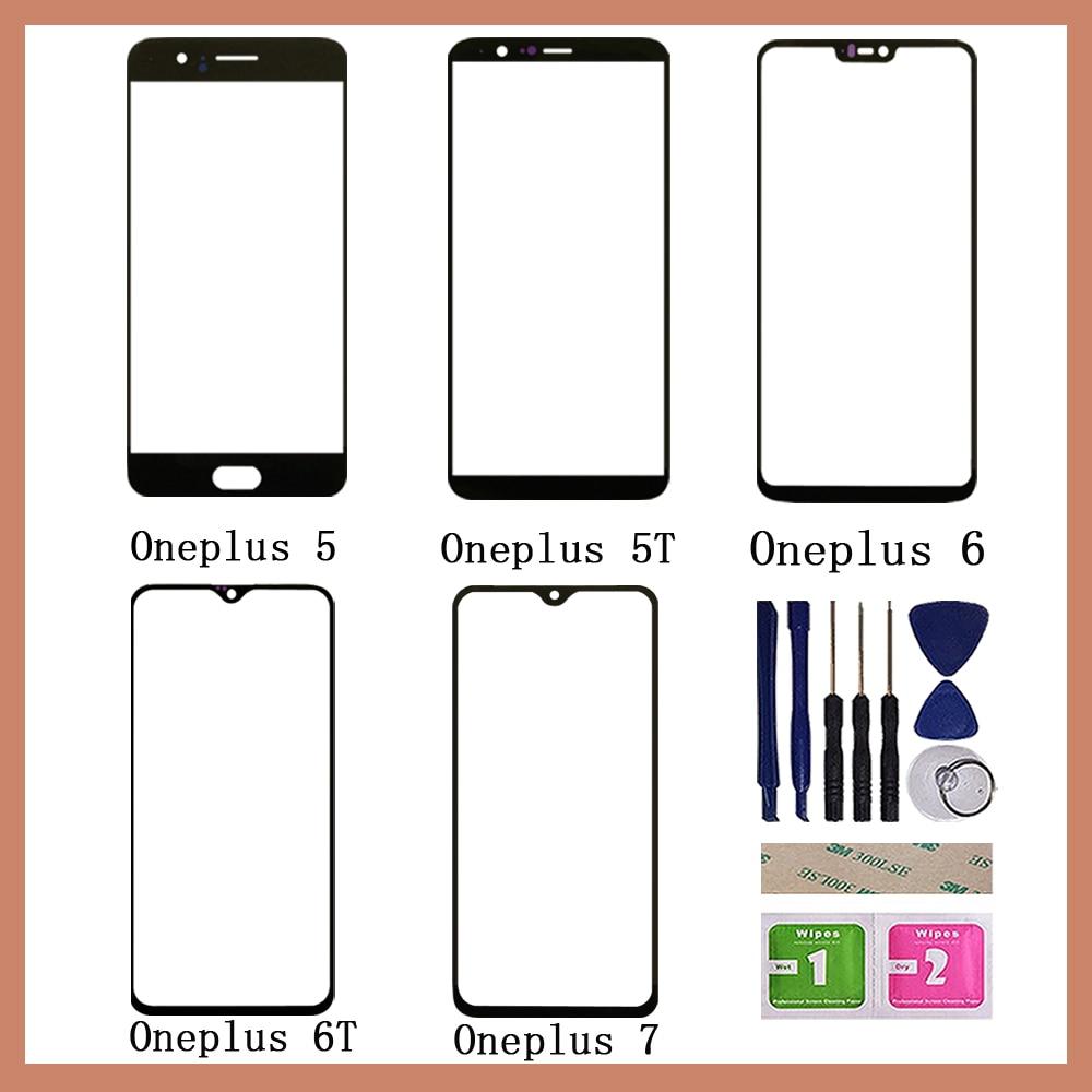 Внешнее стекло мобильного сенсорного экрана для Oneplus 5 5T 6 6T 7 7T Сенсорный экран сенсор Передняя панель дигитайзер стеклянная крышка Замена