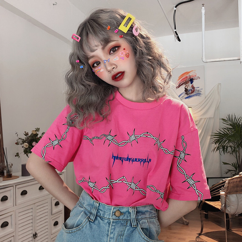 Summer Harajuku T-shirts Women Thorns Print Short Sleeve Loose Top Tees New Fashion Streetwear Casual Female T-shirts Red Black