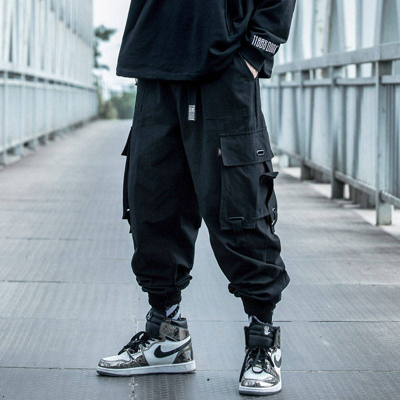 Black Cargo Pants Men Hip Hop Loose Pants Mens Autumn Harem Pant Streetwear Harajuku Jogger Sweatpant Cotton Trousers Male Pants