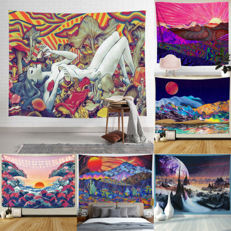 Psychedelic Mount Sun Tapestry Art Wall Hanging Home Blanket Decor Tapestry