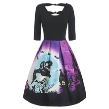 Women Halloween Dress Vintage Long Sleeve V Neck Housewife Print Knotted Back Costumes for