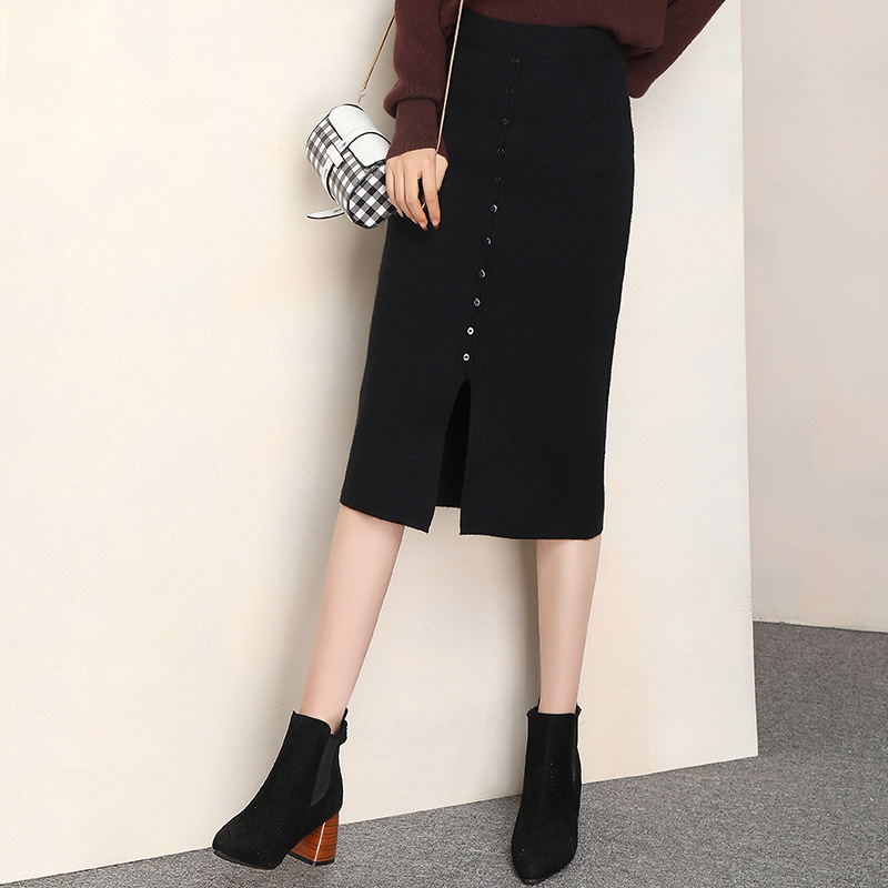 Sheath High-waisted A- Line Skirt Long 2019 Autumn And Winter New Style Korean-style Elegant Black And White With Pattern Buckle