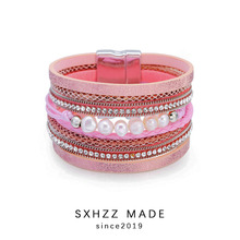 SXHZZ Bohemian Ethnic Vintage Bracelet for Women 100% Genuine Freshwater Pearl For Young Ladies Pink Elegant Bangle