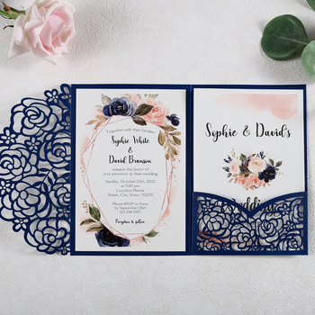 50pcs Blue Laser Cut Hollow Rose Wedding Invitations Cards with Pearlized Pockets and Envelopes for Wedding Bridal Shower