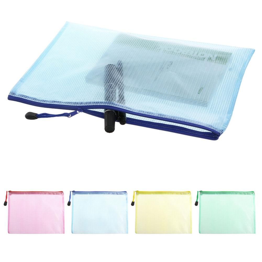 Document Bag A4 Zipper PVC Waterproof Pencil Cases Stationery Storage Office School Supplies Pencil Bags For Girls