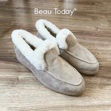 Beautoday Loafers Winter Vrouwen Kid Suède Ronde Neus Slip-On Warm Korte Pluche Dames Platte Bont Schoenen Handgemaakte 27820