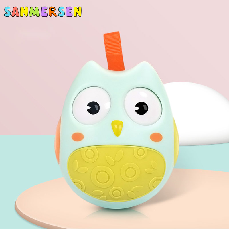 Baby tumbler Toys Cute Nodding Moving Eyes Owl Doll With Bell Infant Bed Toys Roly Poly Tumbler Rattles Game For Newborn Gifts