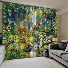 Bedroom 3D Window Curtain Luxury living room decorate Cortina animal curtains cartoon curtain