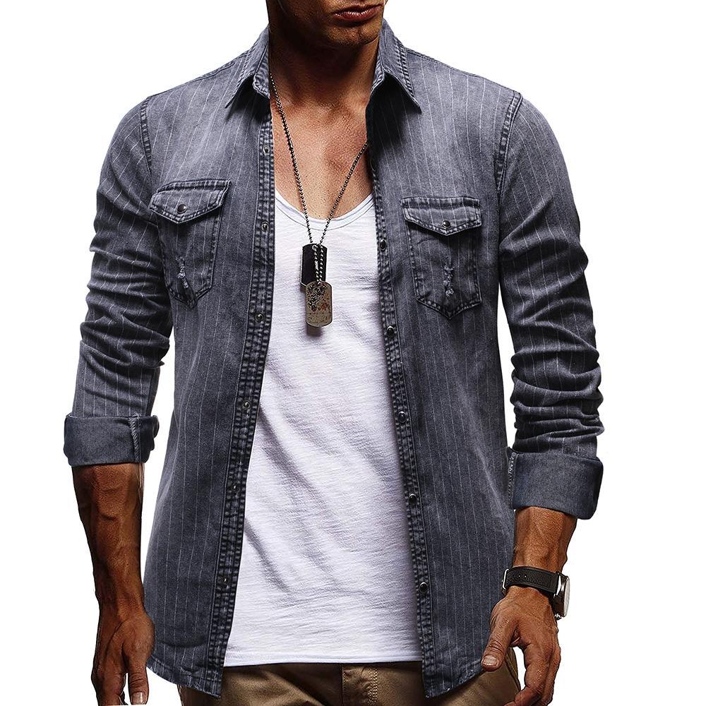 Striped Denim Social Shirt Dress Cotton Long Sleeve Jeans Shirts Men's Blouse Men Gray Blue New Arrival