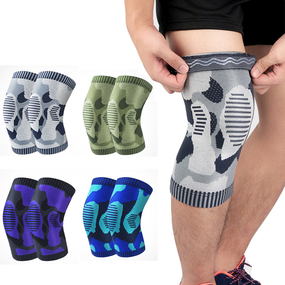 Elastic Compression Sports Knee Pads Camouflage Pattern Support Running Fitness SPSLF20007