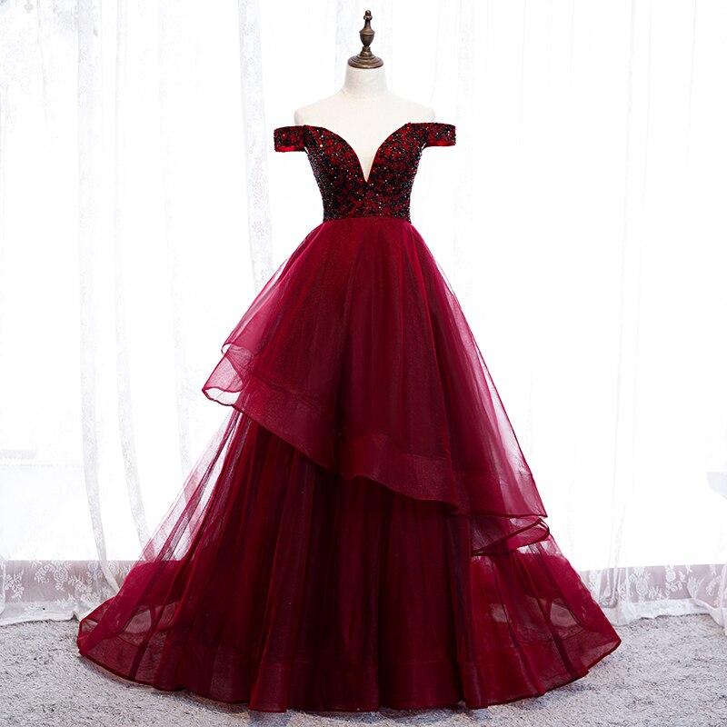 Hors de l'épaule robe de bal pour les femmes profonde V robe de bal cristal gonflé robe de bal longue Graduation robes Dubia formelle robe de bal