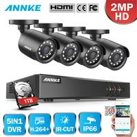 Precio Sistema de CCTV ANNKE 4CH 1080P HD 1080P DVR con cámara de seguridad exterior infrarroja de 2MP Kit de videovigilancia en casa de 4 canales alerta por correo electrónico