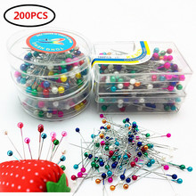200pcs (100pcs / box)round pearl straight tailor pin wedding corsage florist sewing needle and box accessory tool AA7659-1