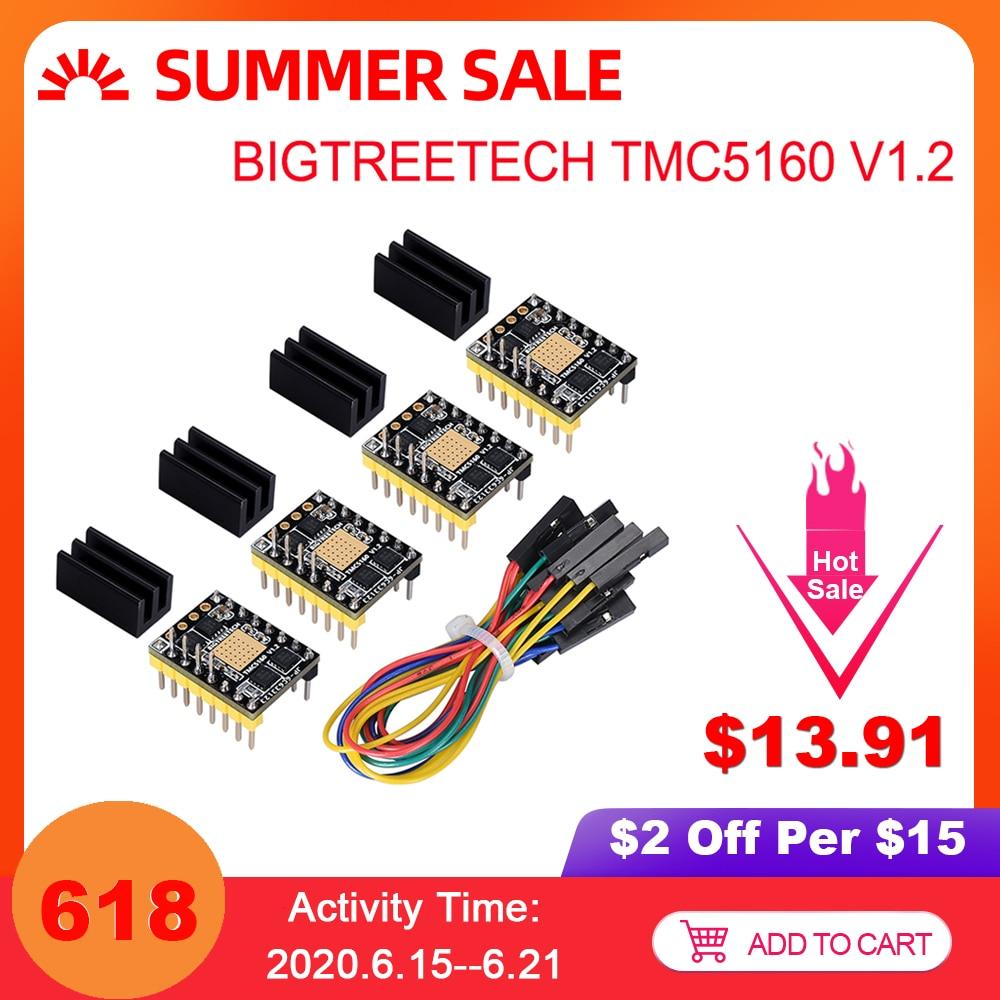 Bigtreetech tmc5160 v1.2 spi stepper driver de motor placa de 6 camadas vs tmc2208 tmc2209 peças de impressora 3d para ender 3/5 skr v1.3 pro