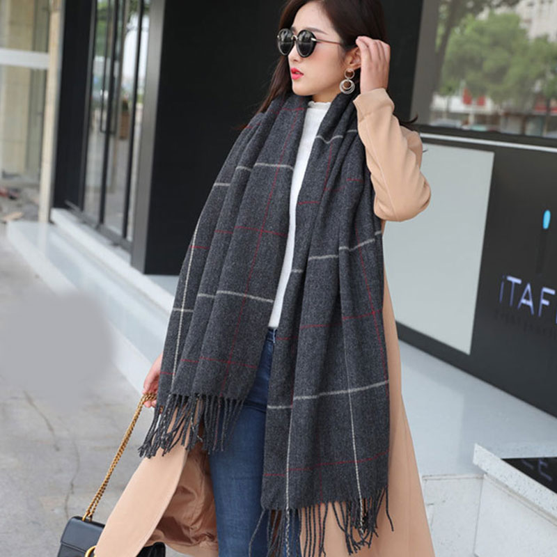 Knitted Scarf Soft Thicken Like Pashmina Hijabs Scarves Wraps Women Plaid Imitation Cashmere Tassel Scarf Lattices Long Shawl