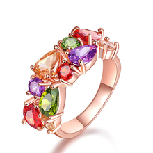 Luxury Unique Design Rose Gold Color Ring for Female Wedding  with Fashion AAA Colorful Cubic Zircon Bijouterie W002 2020 luxury women silver color ring with aaa cubic zirconia unique cross rose gold color romantic wedding design ring for women