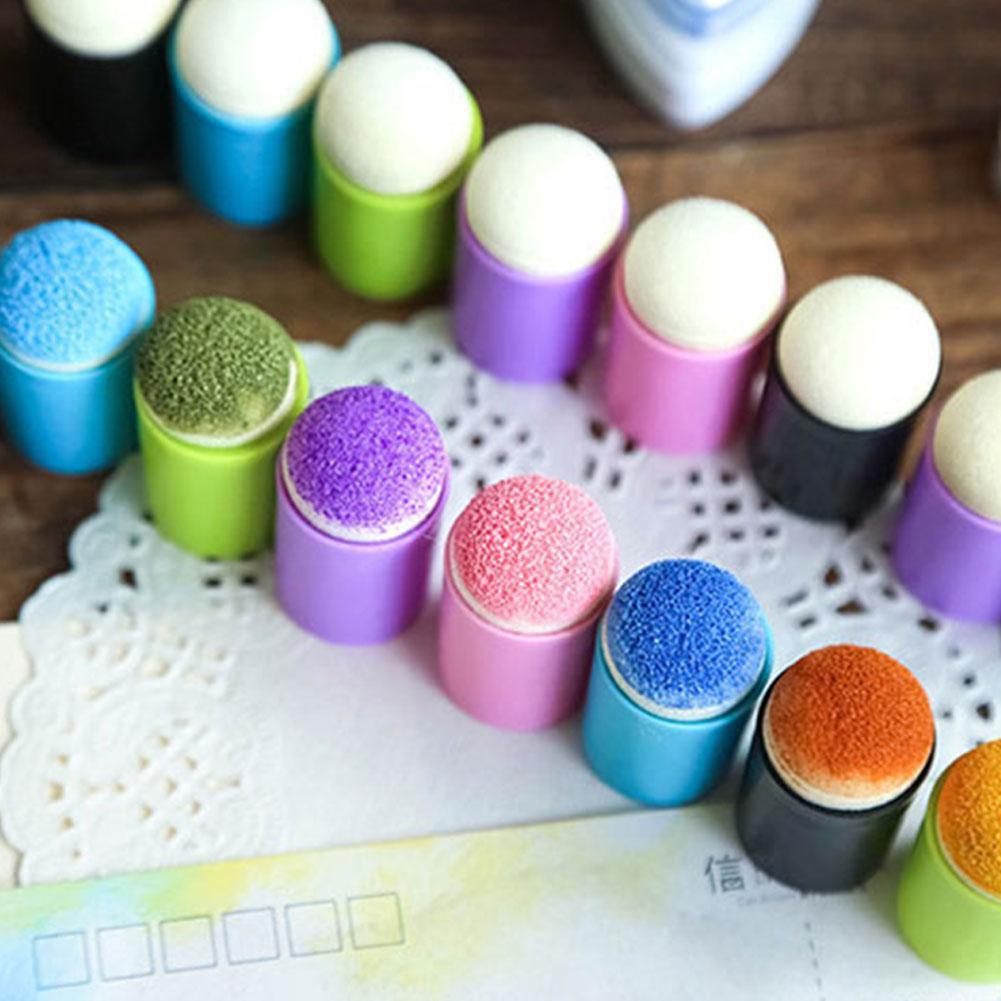 5 Pcs/set Painting Craft Set Finger Paint Drawing Sponge Tools Daubers Ink Chalk Art Finger Durable Foam Sponge Stamping Fi X1M1