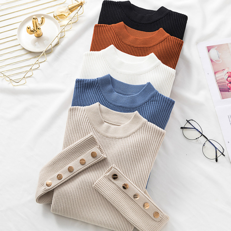 Autumn Winter Pure Slim Sweater Women Long Sleeve Knitted Pullover Metal Buttons Split Cuff White Tops Women Sweater Pull Femme 1