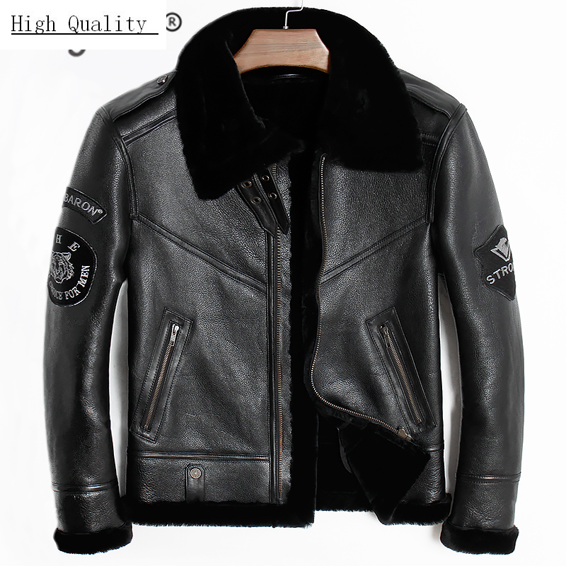 Streetwear Genuine Leather Jacket Men Jaqueta De Couro 2020 Real Sheep Shearling Coat Thick Warm Wool Liner Outerwear 801