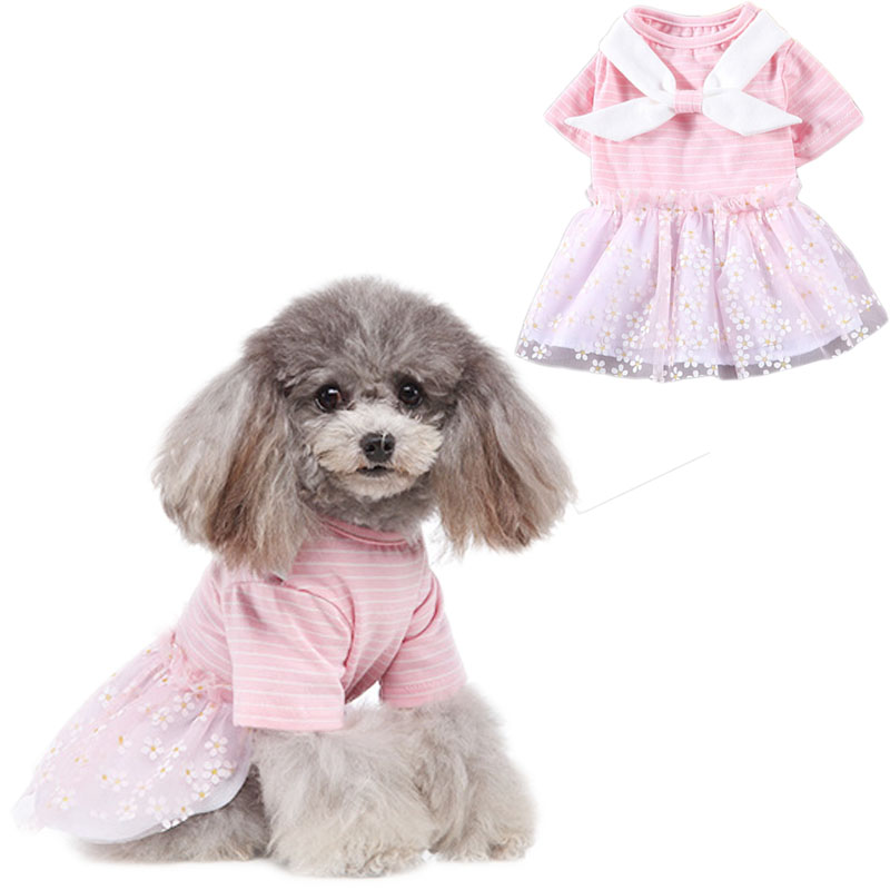 Pink Yellow Strips Dog Dress Princess Cotton Bow Knot Skirt Flower Tulle Dresses For Small Dogs Summer Pet Clothes Chihuahua Pug