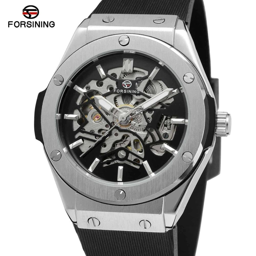 FORSINING Military Sports Auto Mechanical Watch Men Rubber Strap Skeleton Mens Watches Top Brand Luxury HIP HOP Punk Clock