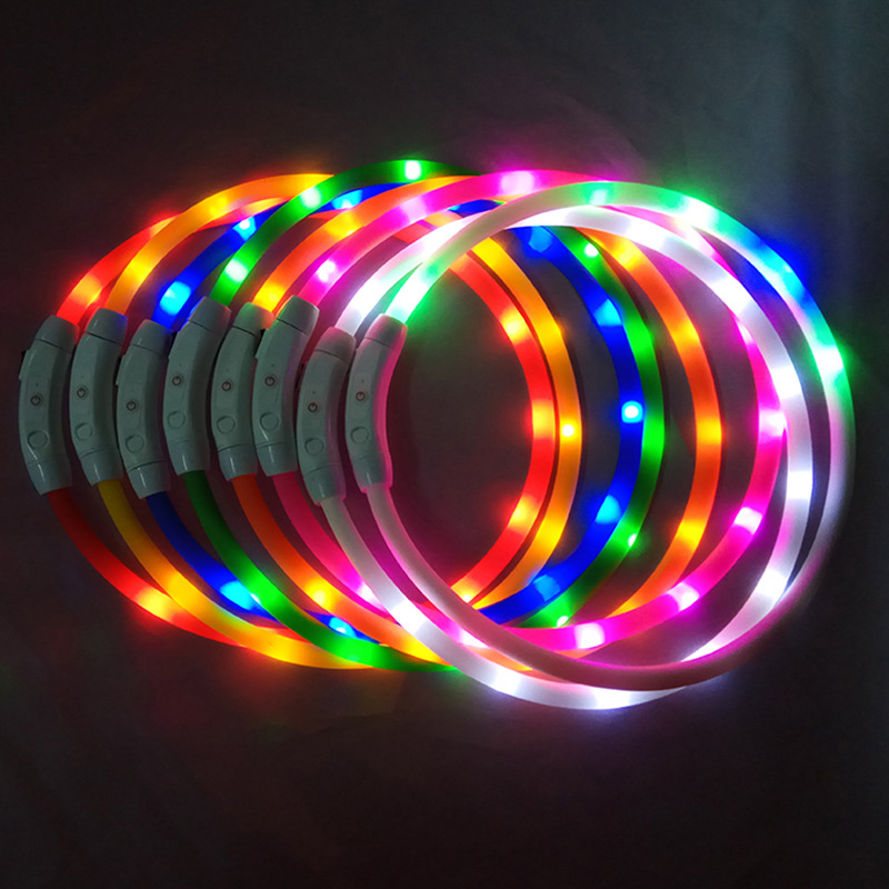 LED Pet Dog Luminous Collar USB Charging Collar Night Light Dog Collar Teddy Cat Dog Neck Ring