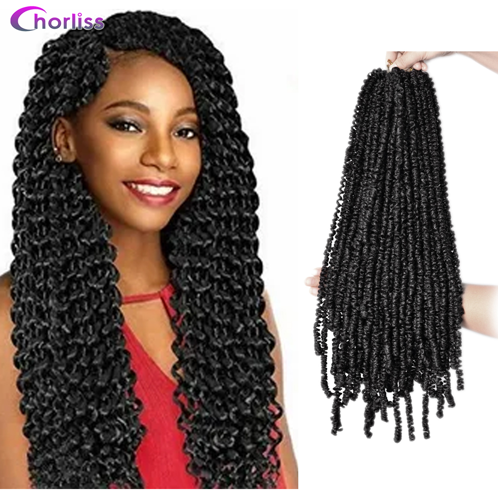 Passion Twist Crochet Hair Synthetic Braiding Hair Extensions 18Inch 15 Strands Spring Twist Hair 100g/Pack Long Black Brown 1