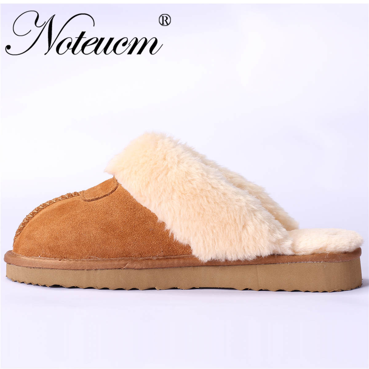 Genuine Leather 2019 Unisex Fluffy australia Woman Slippers female slides furry home winter house sleeper shoes with plush Women