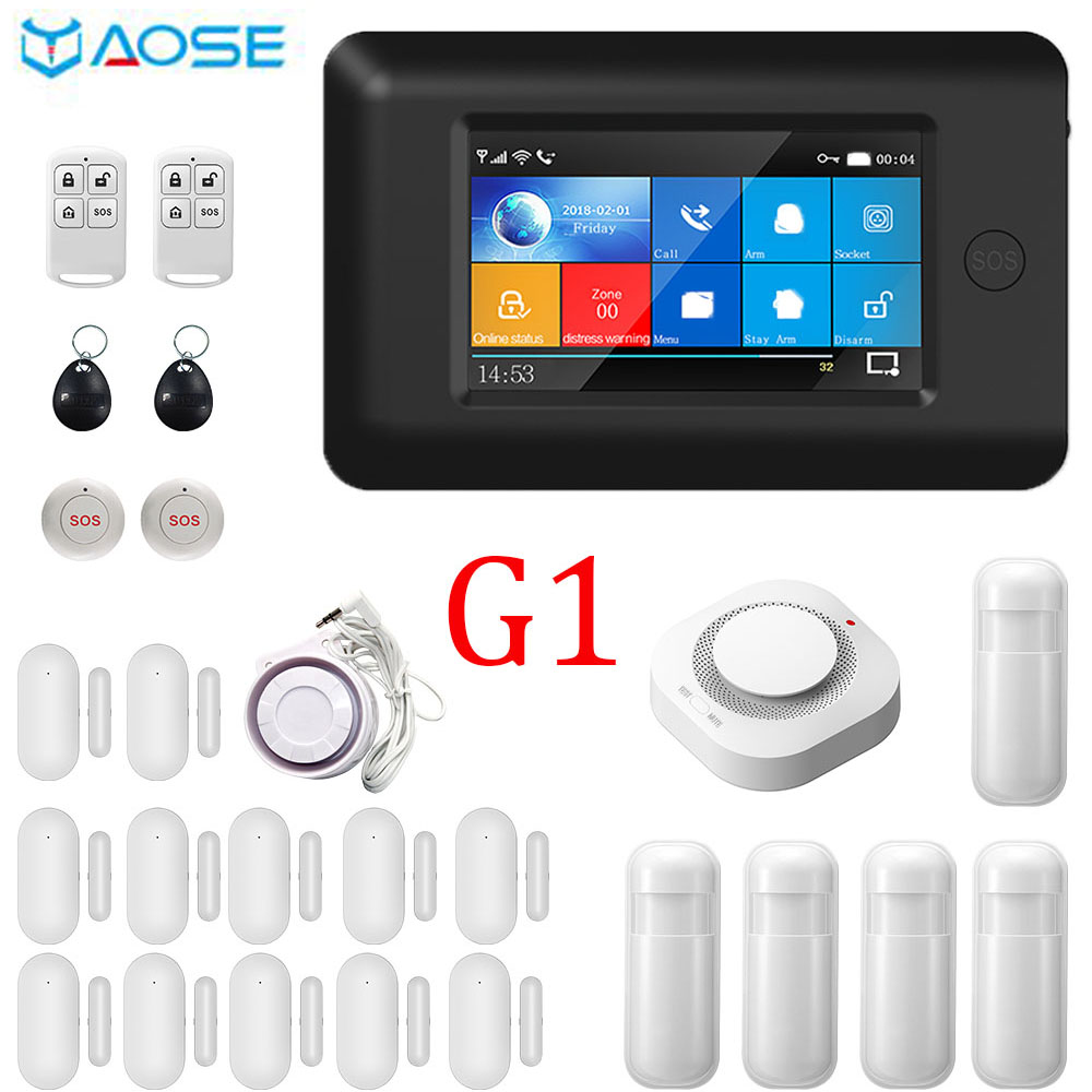 YAOSE 4,3 pulgadas completamente táctil pantalla inalámbrica WIFI GSM sistema de alarma de seguridad para el hogar con Detector de humo botón SOS Kits Baseus T2 rastreador Mini GPS Antipérdida, rastreador Bluetooth para llavero, billetera para niño, alarma antipérdida, localizador de clave de etiqueta inteligente