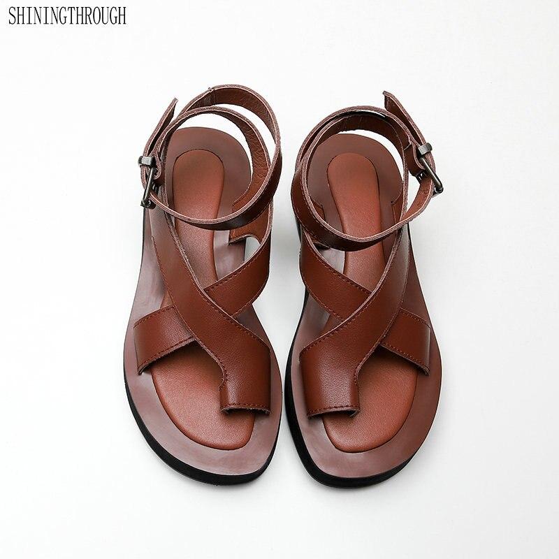 100% Cow Leather Flat Platform Sandals Woman Shoes Fashion Ladies Party Dress Shoes Woman Summer Style Women Flip-flop
