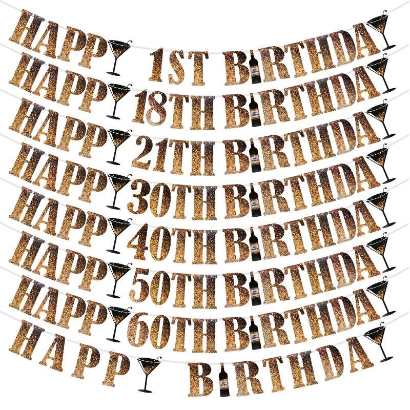 1 комплект черного и золотого цвета с днем рождения баннер 1 18 21 30 40 50 60 праздничные баннеры детская и взрослая День рождения украшения овсянк...