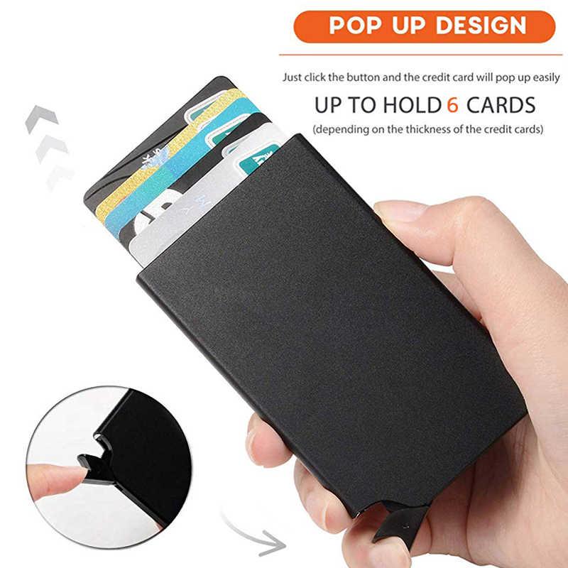 Auto Pop up RFID crédit portefeuille porte-cartes fin avant poche carte protecteur en aluminium portefeuilles contenir 6 cartes
