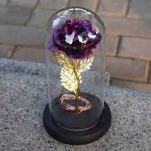 Искусственный Золотой фольга розы и светодиодный светильник в стеклянном куполе на деревянной основе лучший подарок для женщин