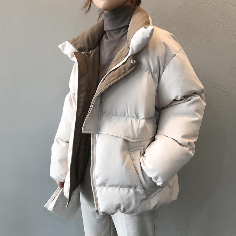 Женская однотонная стеганая верхняя одежда с воротником-стойкой 2020 Harajuku, теплая зимняя куртка в стиле пэчворк, женская модная короткая парк...