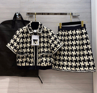 High end 2 Pieces Set Women Suits Retro Woven Plaid Tweed Short Sleeve Zipper Jacket Coats and Mini Skirt Luxury Sweet Girl Sets