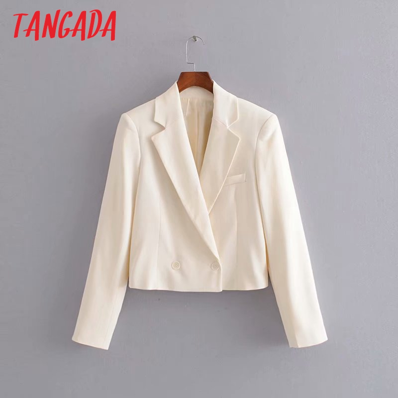 Tangada Fashion Women Short Style Beige Blazer Long Sleeve Pocket Lady Suit Coat Female Retro Casual Tops 3H17