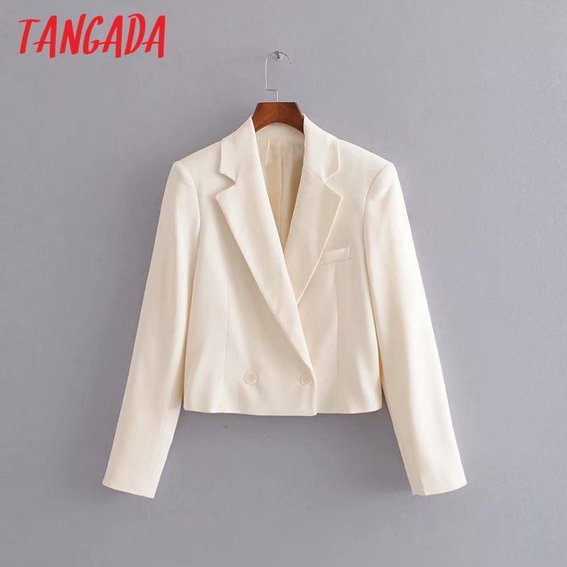 Tangada Fashion Women Short Style Beige Blazer Long Sleeve Pocket Lady Suit Coat Female Retro Casual Tops 3H17