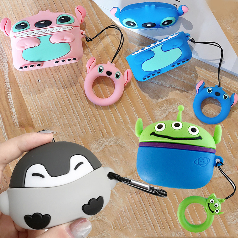 For Airpods Pro 3D Cute Cartoon Baby Penguin Case for Apple Airpods 3 Couple Stitch Toy Story Alien Wireless Earphone Cover Box(China)