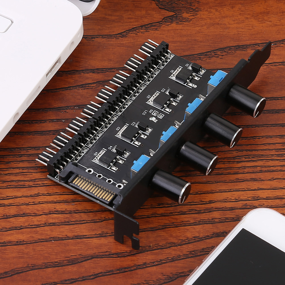 8 Channels Cooling Fan HUB 4 Knob Radiator Speed Controller for CPU PC Case