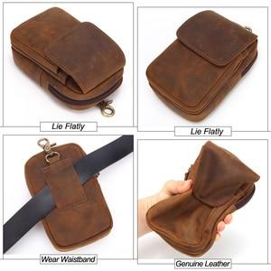 Image 5 - Flanker crazy horse leather men waist pack vintage small waist bag hook hip bag belt bag travel fanny pack with cell phone pouch