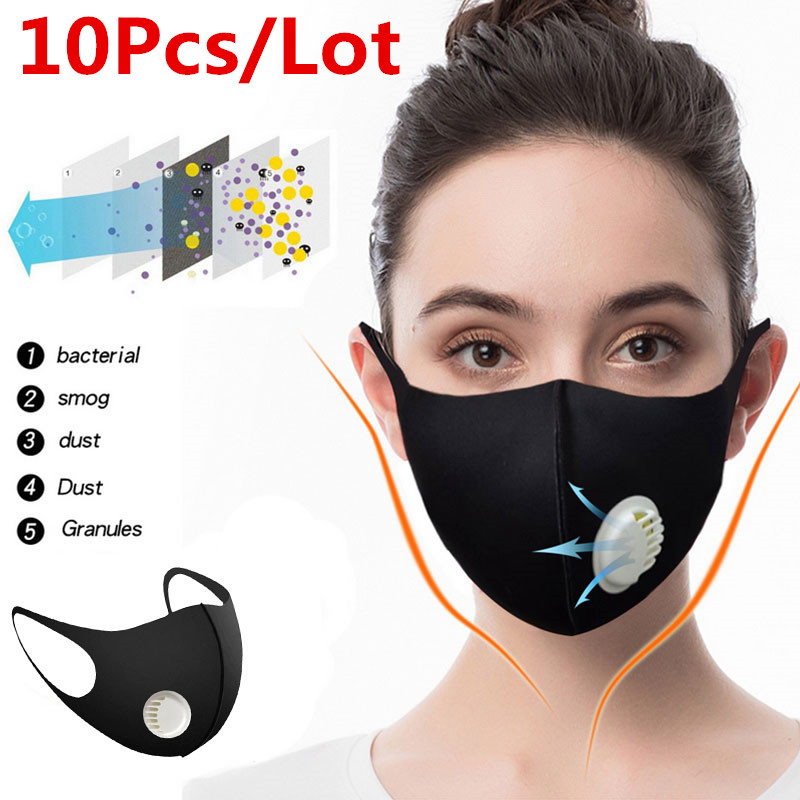 100/10Pcs PM2.5 Unisex Cotton Breath Valve N95 Mouth Mask Anti-Dust Anti Pollution Mask Cloth Activated Carbon Filter Respirator